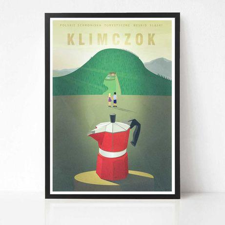 Klimczok plakat grafika - Beskid Śląski - kawa - kawiarka