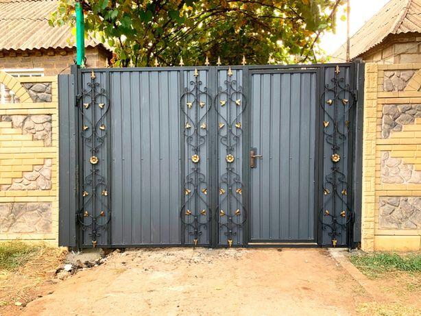 Забор из профнастила Краматорск (профнастил,ворота,калитка,установка,,