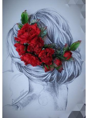 Веточка роз из ткани.