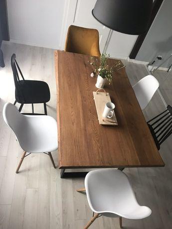 Stół dębowy, INDUSTRIALNY, olejowany kolor whisky, podstawa metalowa