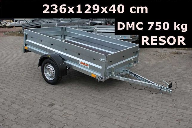 Przyczepa samochodowa Neptun 236x129x40 cm resor/amortyzator