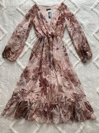 Nowa sukienka na wesele pudrowy róż beż rozmiar S