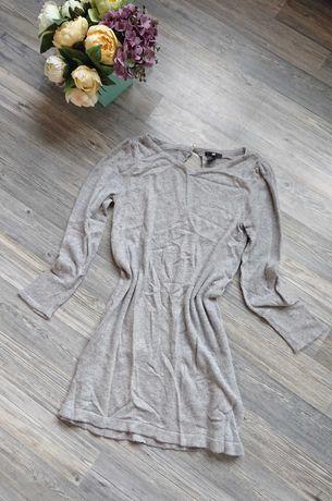 Красивое серое трикотажное платье нить вискоза и ангора р.s/m