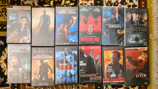Filmy VHS , kasety wideo , różne , bajki , akcja , sensacja i inne.