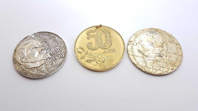 Настольная медаль 3 шт. Ленин 100 лет под золото, серебро, 50 лет СССР