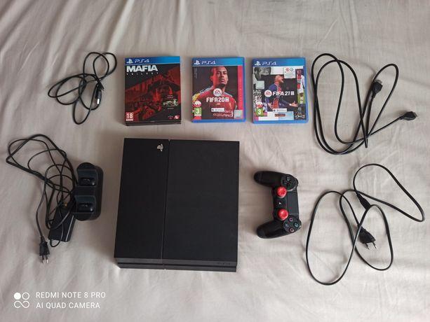 Konsola PS4 500gb pad stacja ładująca FIFA 21 20 Mafia Trilogy kable