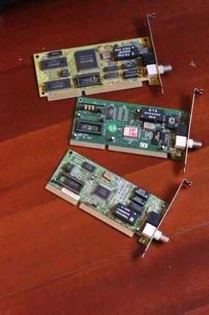 Placas de Rede Ethernet BUS ISA, RJ-45 e BNC