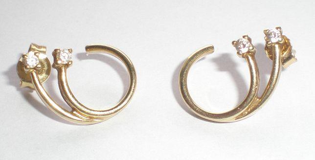 Wyjątkowe kolczyki złoto 585 z cyrkoniami