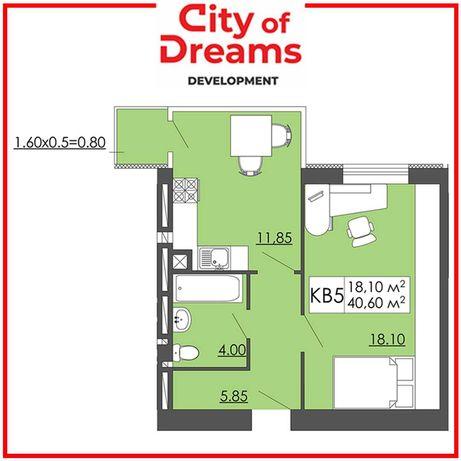 Одно кімнатна квартира 40,60м2, Малі Підліски.