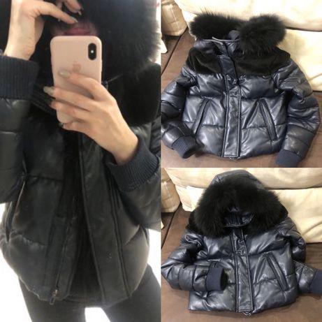 Куртка курточка пуховик рост 155-170 кожа pu мех