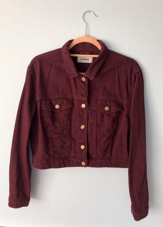 Bordowa kurtka katana jeansowa New Look