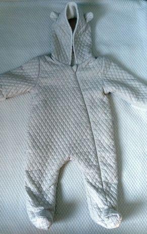 Pajac niemowlęcy pikowany ocieplany r.74 jesienno-wiosenny