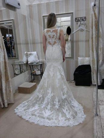 Przepiękna suknia ślubna Vanilla Sposa, kolor ecru, koronka - rozm. 38