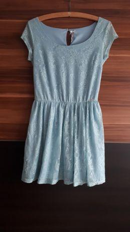 Sukienka niebieska koronkowa letnia