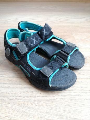 Sandały 36 Ecco buty czarne niebieskie dla chłopca na rzepy wygodne