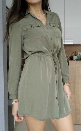 George modna sukienka khaki wiązana w pasie S M