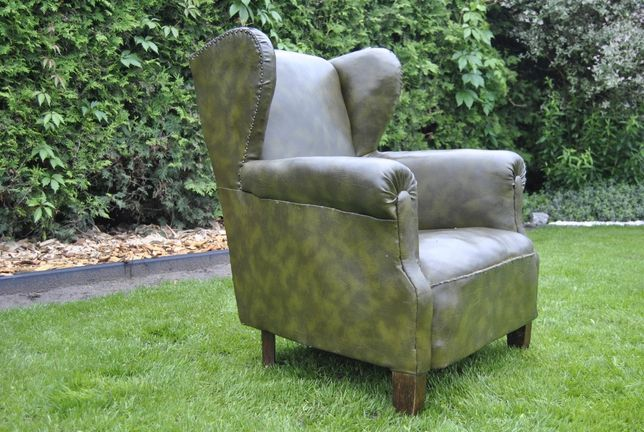 stary angielski fotel;uszak