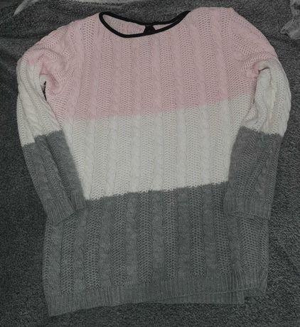 Sweterek damski paski kokardka