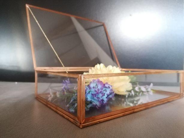 Pudełko szklane, miedziane Rose Gold organizer szkatułka przezroczyste