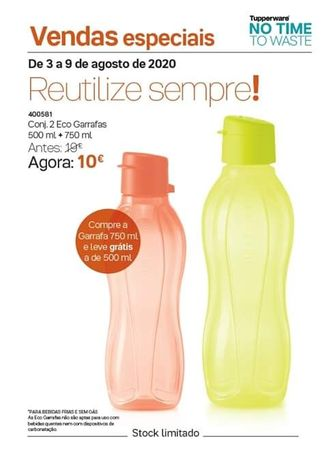 Ecogarrafa 750ml com oferta de Ecogarrafa 500ml Tupperware