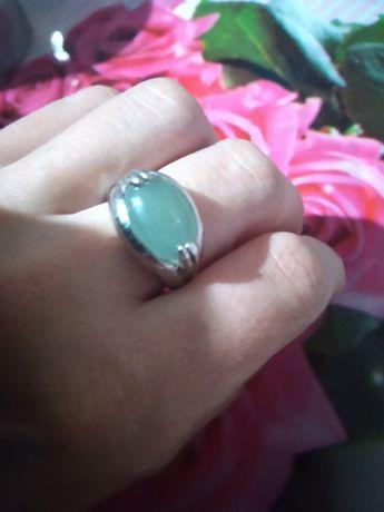 Камень нефрит, кольцо серебряное покрытие, кольцо серебро с нефритом