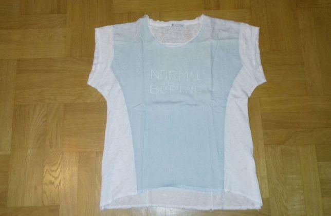 44-46 XL Blue Shadow bluzka *Normal is boring* bawełniano-dzianinowa