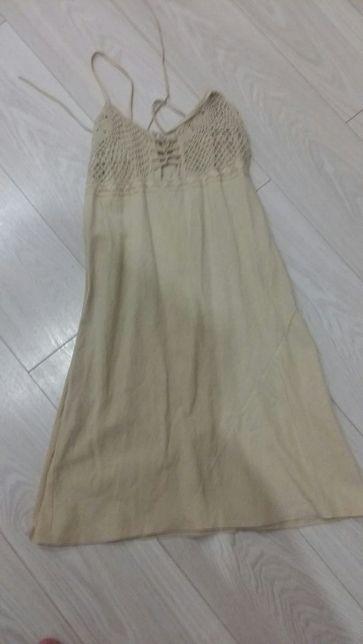 Letnia sukienka koloru kości słoniowej rozm. 38
