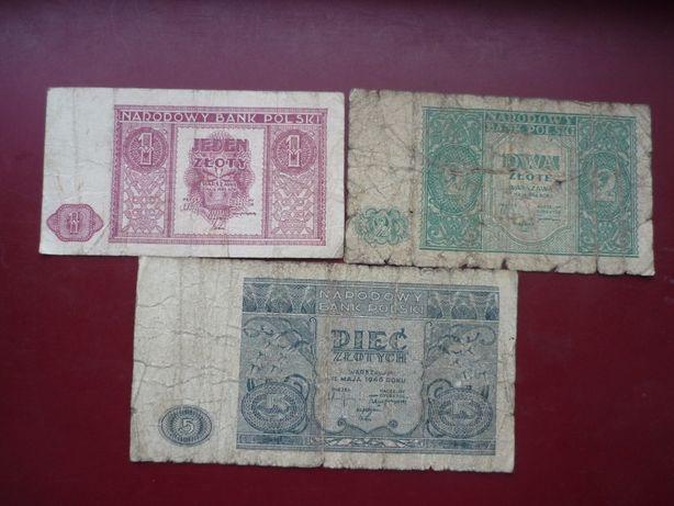 Zestaw Banknoty 1, 5 , ,5 , zł.1946 r.