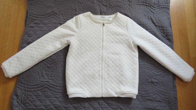 Biała, lekko ocieplana bluza dla dziewczynki - 152 cm