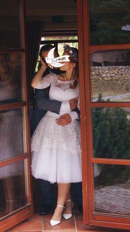Jeśli masz wciętą talię...Suknia ślubna pin up 3 suknie w 1 rozmiar 38
