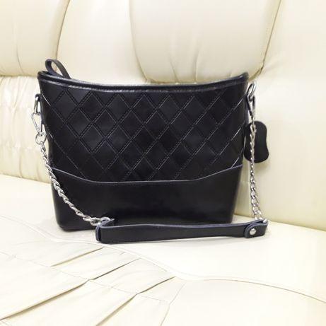 Женская черная сумочка из натуральной кожи 88857