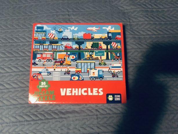 Puzzle pojazdy Zielona Sowa