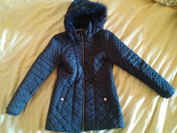 Куртка-парка стеганная F&F синего цвета на 8-10 лет