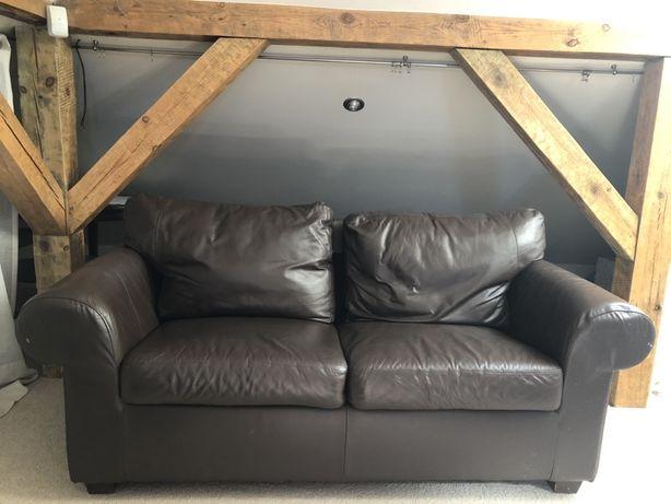 Kanapa/sofa skórzana nierozkładana, skóra, brąz, ikea