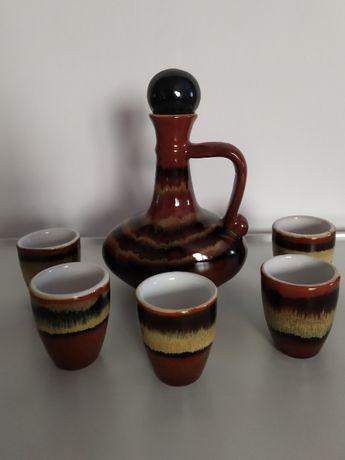 Karafka, 5 kieliszków, ceramika