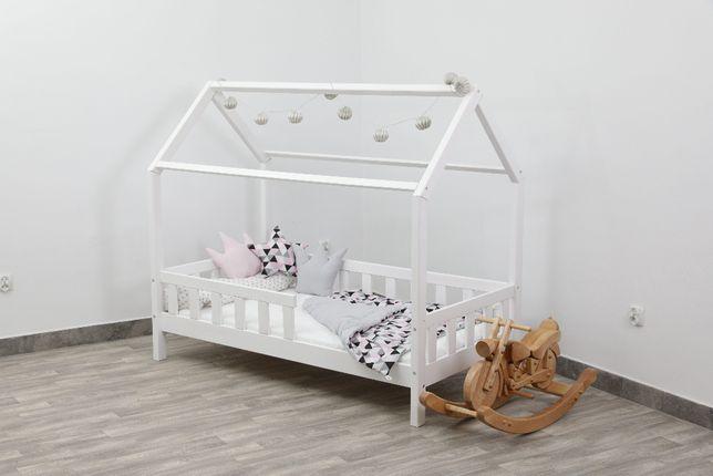 Łóżko dziecięce Domek białe 80x160cm + materac