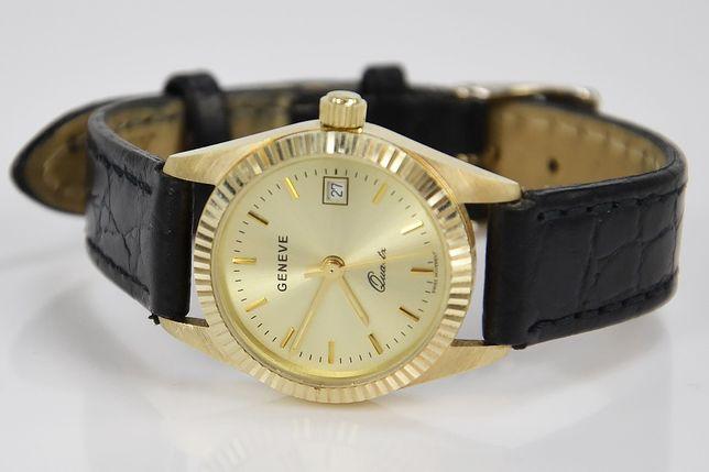 Złoty zegarek damski Rolex style 14k włoski Geneve ELEGANCKI lw020 B