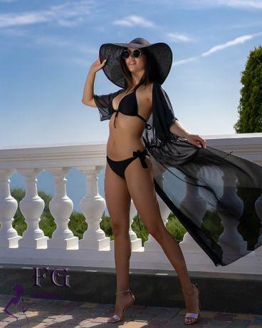 парео накидка на купальник пляжная туника шифоновый халат пляжна тунiк