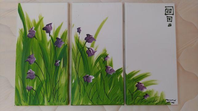 Niepowtarzalny ręcznie malowany obraz 60 cm x 40 cm tryptyk