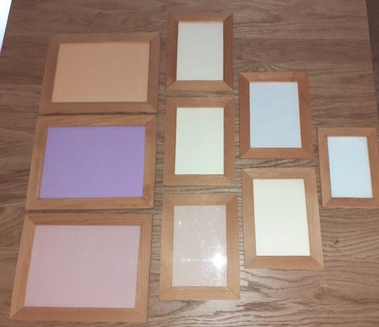 ramki do zdjęć drewniane IKEA olcha bejcowane bejca komplet 9 sztuk