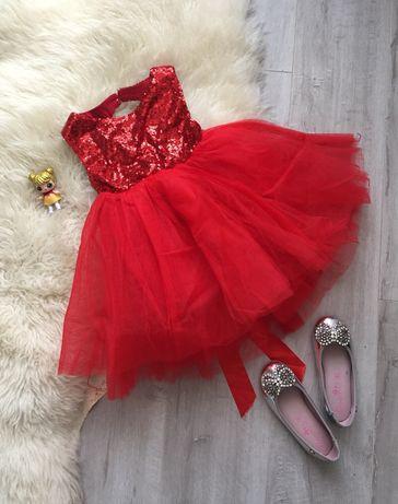 Красное пышное платье в пайетках на малышку 1-2 года