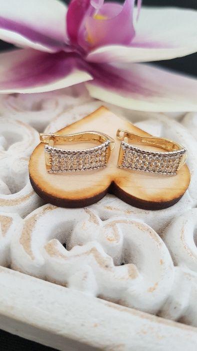 (k) Złote Eleganckie kolczyki z cyrkoniami 585 2,4 g Malbork - image 1