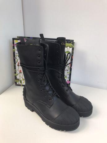 Christian Dior workery trapery czarne zimowe buty 39 40