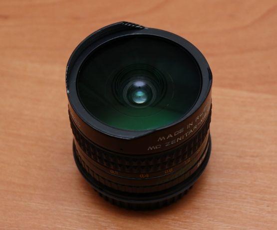 Объектив Зенитар фишай (Zenitar Fisheye) 16/2.8 на Canon