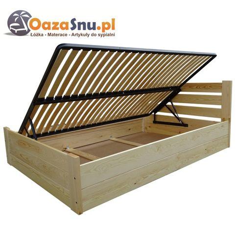 łóżko z podnoszonym stelażem SAND 160x200 z drewna, DOWOLNY WYMIAR