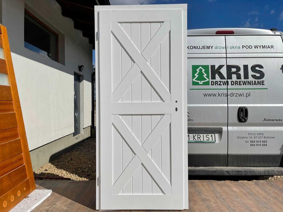 Drzwi drewniane białe z oscieżnicą regulowaną OD REKI CAŁA POLSKA Grzybno - image 1