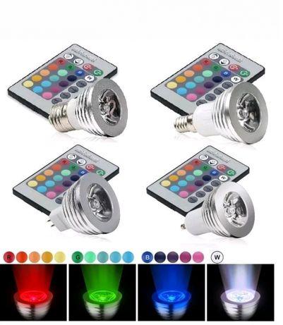 Lâmpada RGB LED E27/E14/MR16/GU10 16Cores 3W/4W com comando