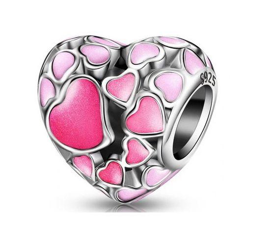 WALENTYNKI CHARMS Zawieszka BEADS ażurowe różowe serce miłość S925