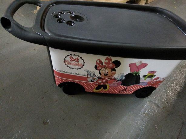 Nowy pojemnik organizer skrzynia na zabawki na kółkach Myszka Minnie