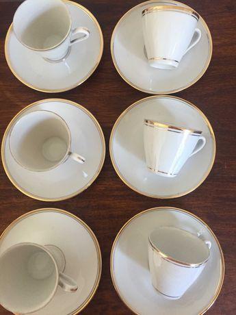 filiżanki ze spodkami ,porcelana do espresso + mlecznik , Ćmielów
